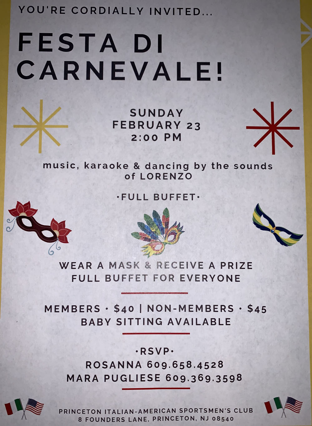"You are cordially invited to ""Festa Di Carnevale!"" * February 23, 2020"